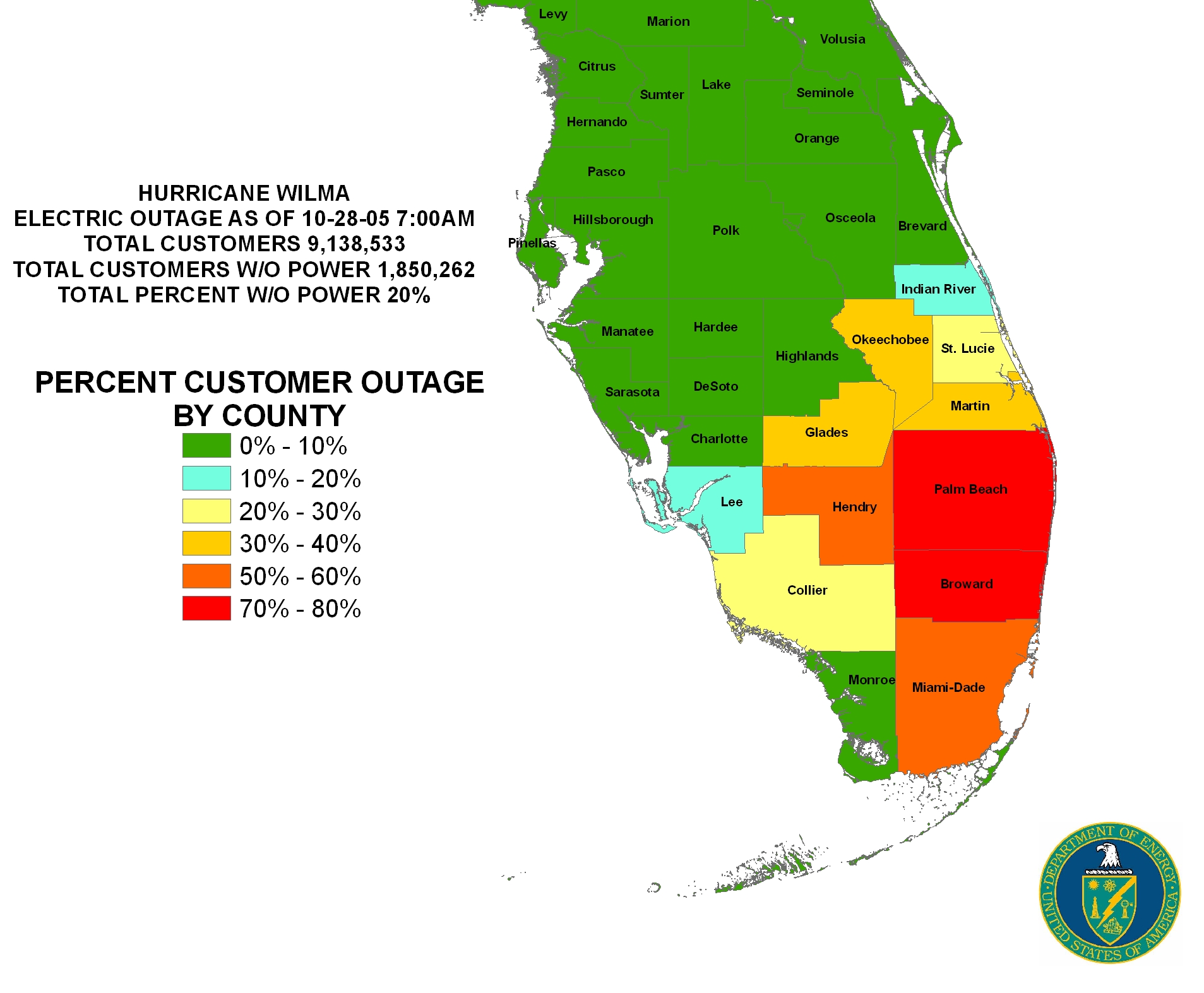 Florida Power Outage Map ISER   Gulf Coast Hurricanes