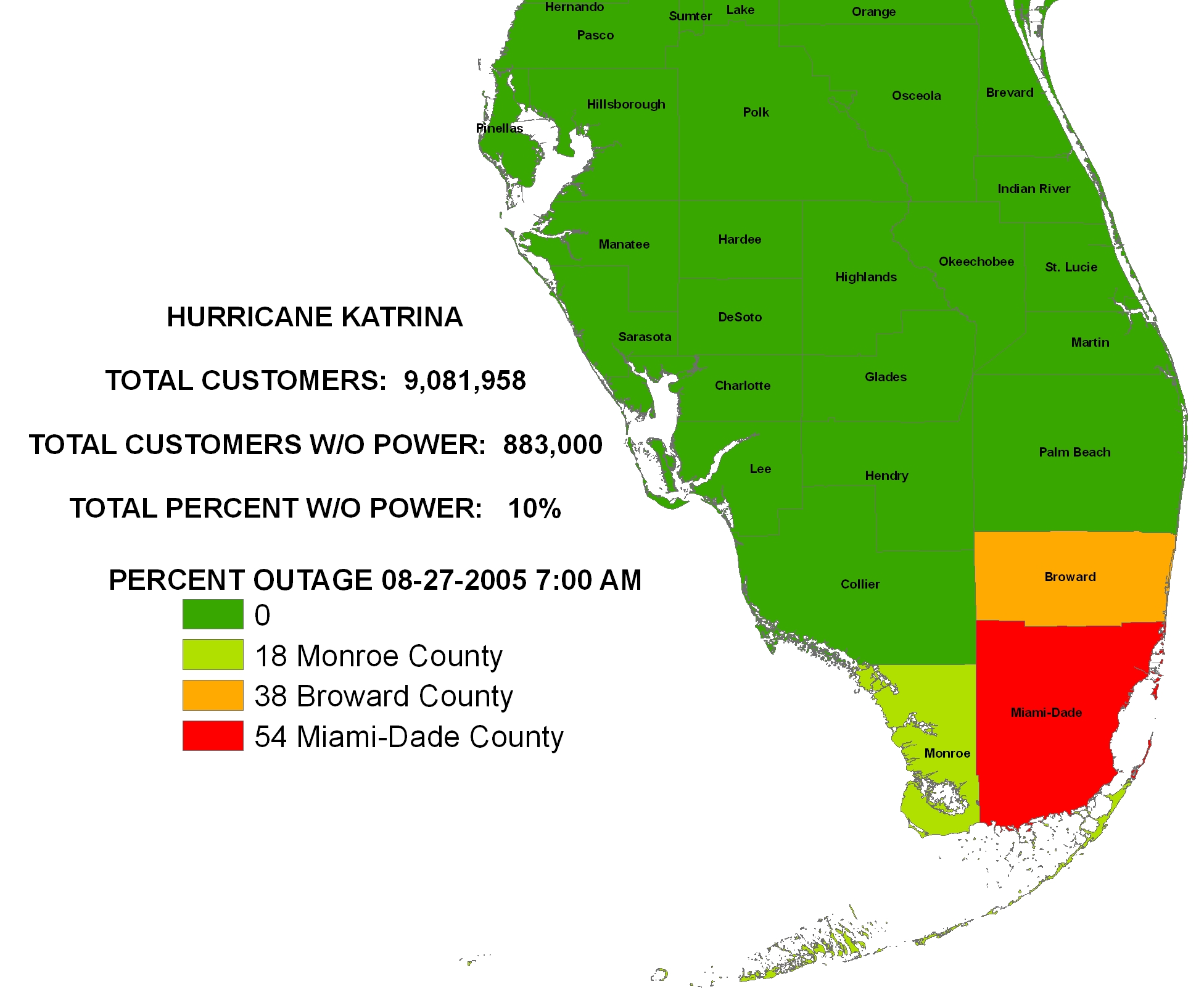 ... August 27, 2005 U2013 Florida Power Outage   0700 Hours ...